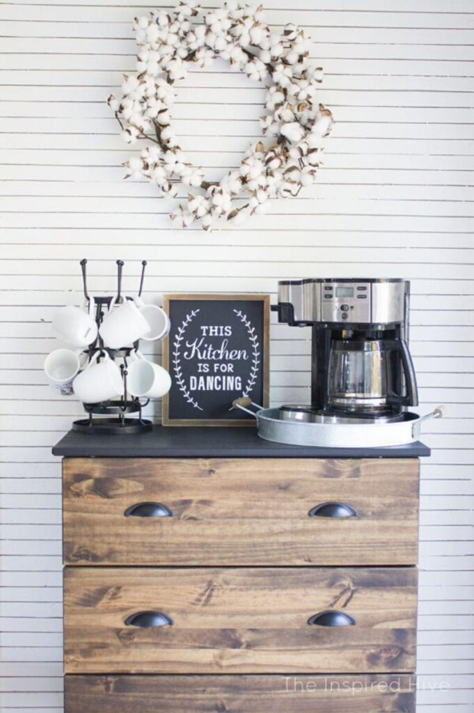 Farmhouse style coffee bar