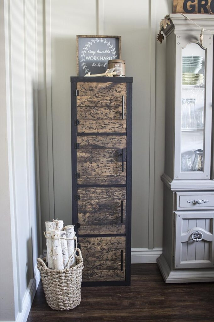 Rustic upright storage cubes with wood doors