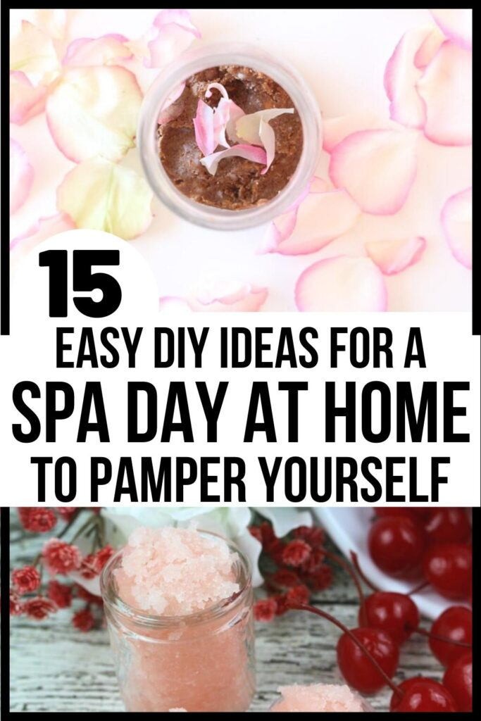 at home spa day Pinterest pin image A