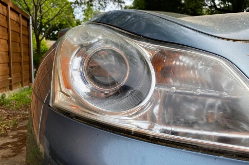 Car headlights that have been defogged with toothpaste