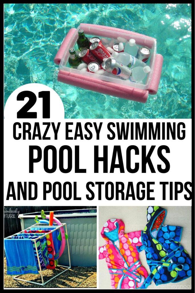 pool storage and swimming pool fun hacks Pin image A