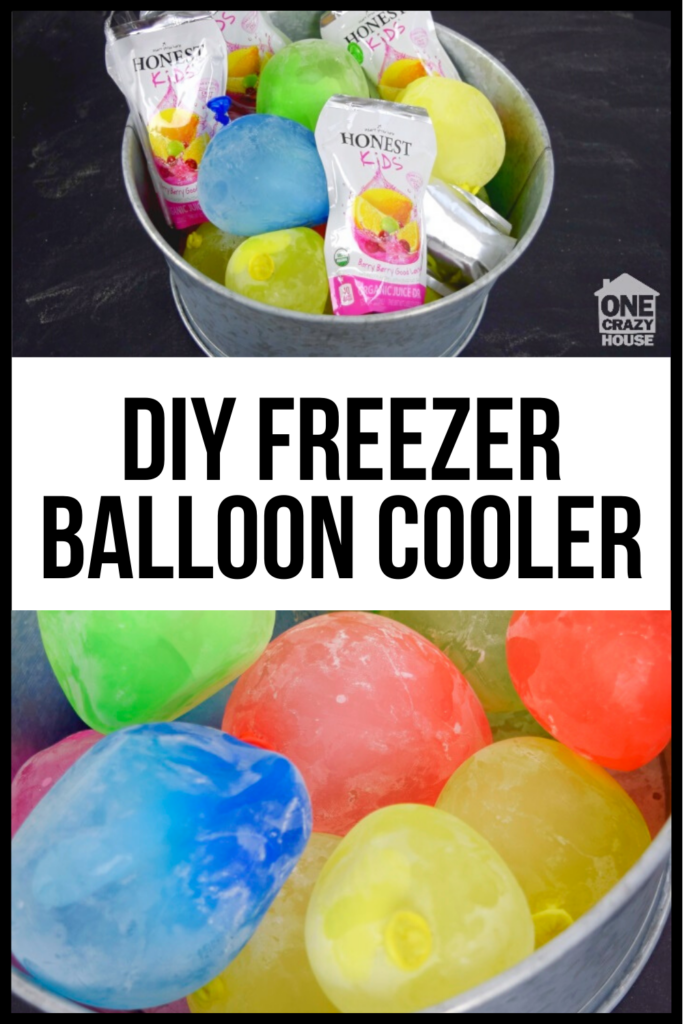 Balloons frozen in a bucket acting as an ice cooler.