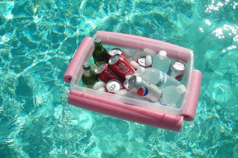DIY floating cooler floating in a pool