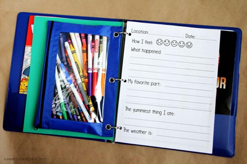 Inside page of activity binder with pencil case filled with markers