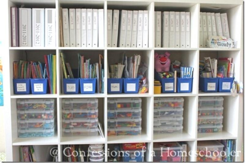 Cubby shelves holding notebooks and other supplies