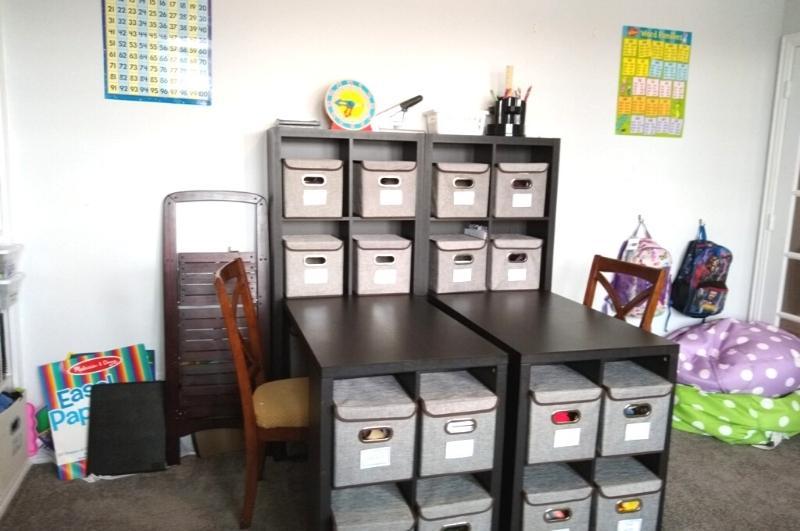 Desks with cubby storage