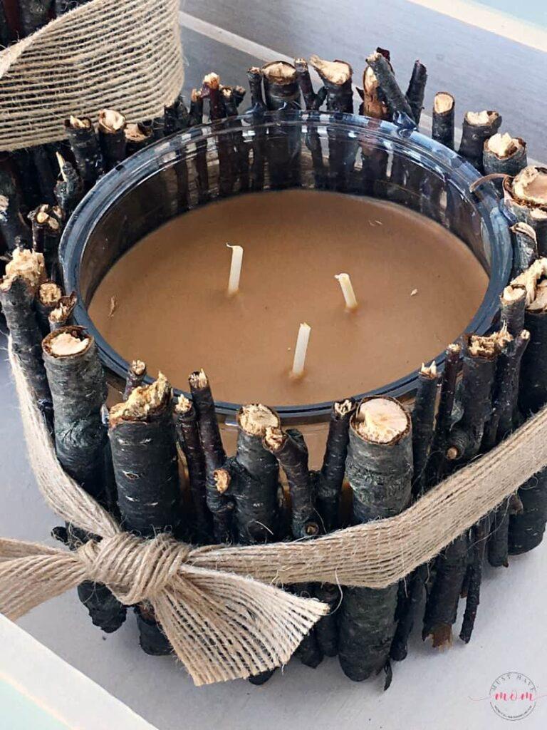 rustic farmhouse DIY stick candle