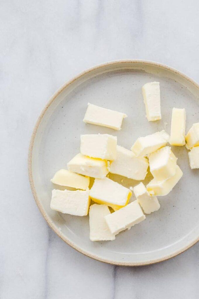cut butter on a plate