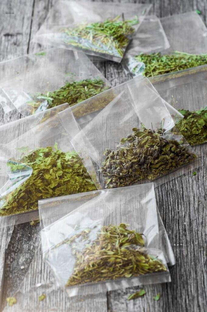 microwaved dry herbs
