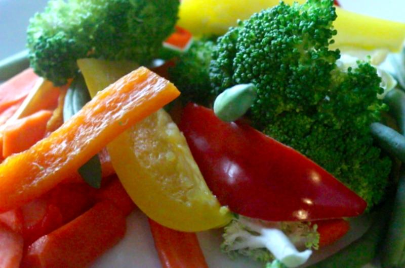 close up of steamed veggies