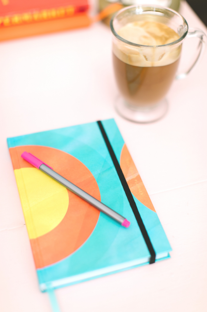 Full focus student planner with a cup of coffee