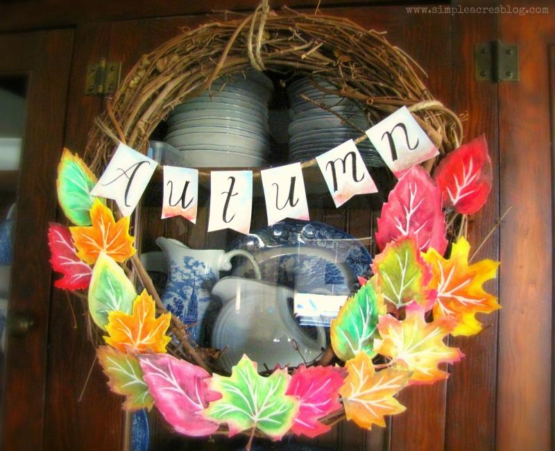 DIY grapevine autumn wreath