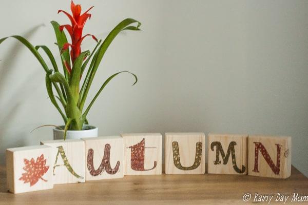 Autumn Wood Blocks sign