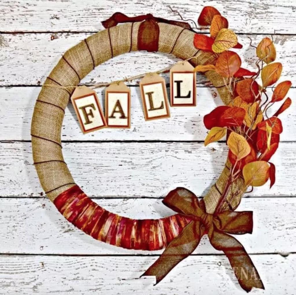 DIY fall ribbon and burlap wreath