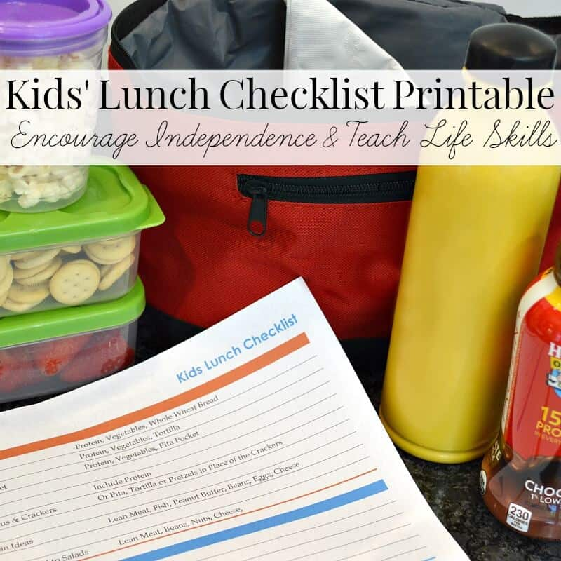 Kids lunch checklist image with school items in the background