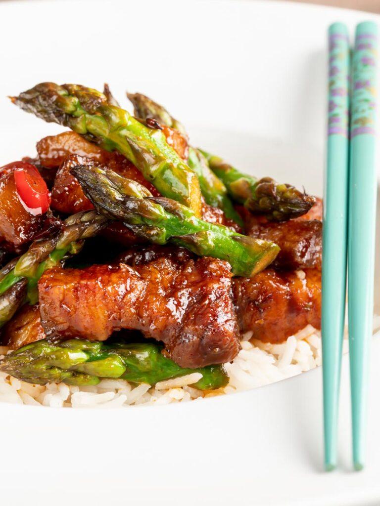 Korean Pork Belly With Gochujang glaze and Asparagus