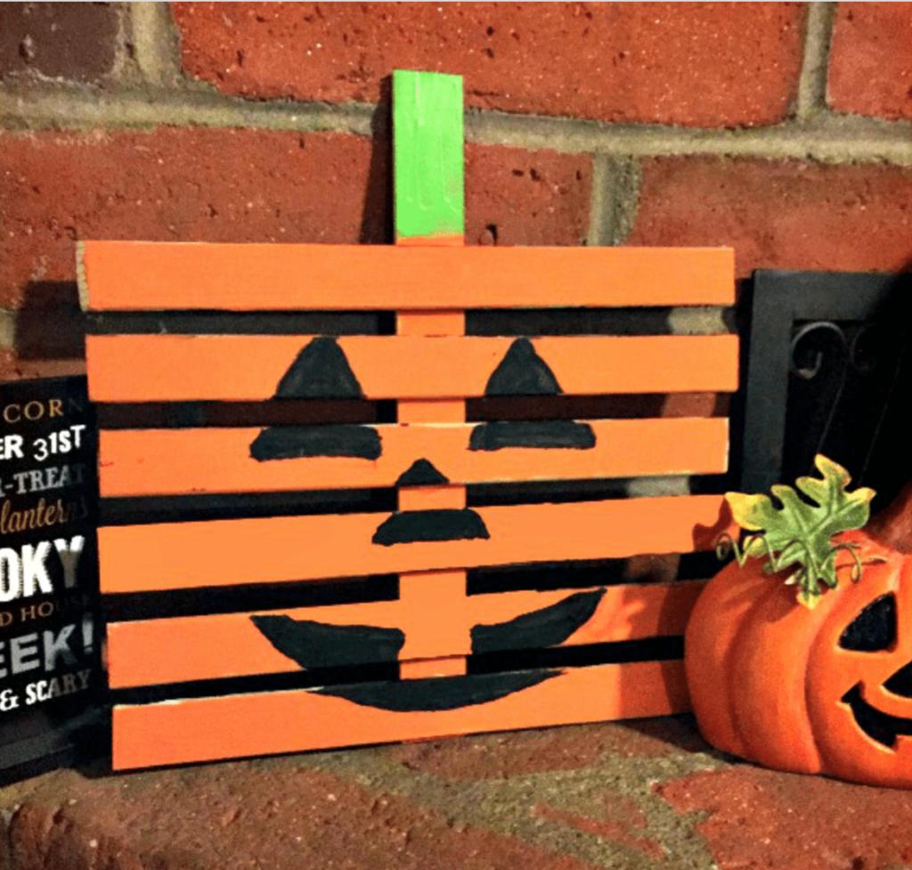 Wood slat fall pumpkin sign