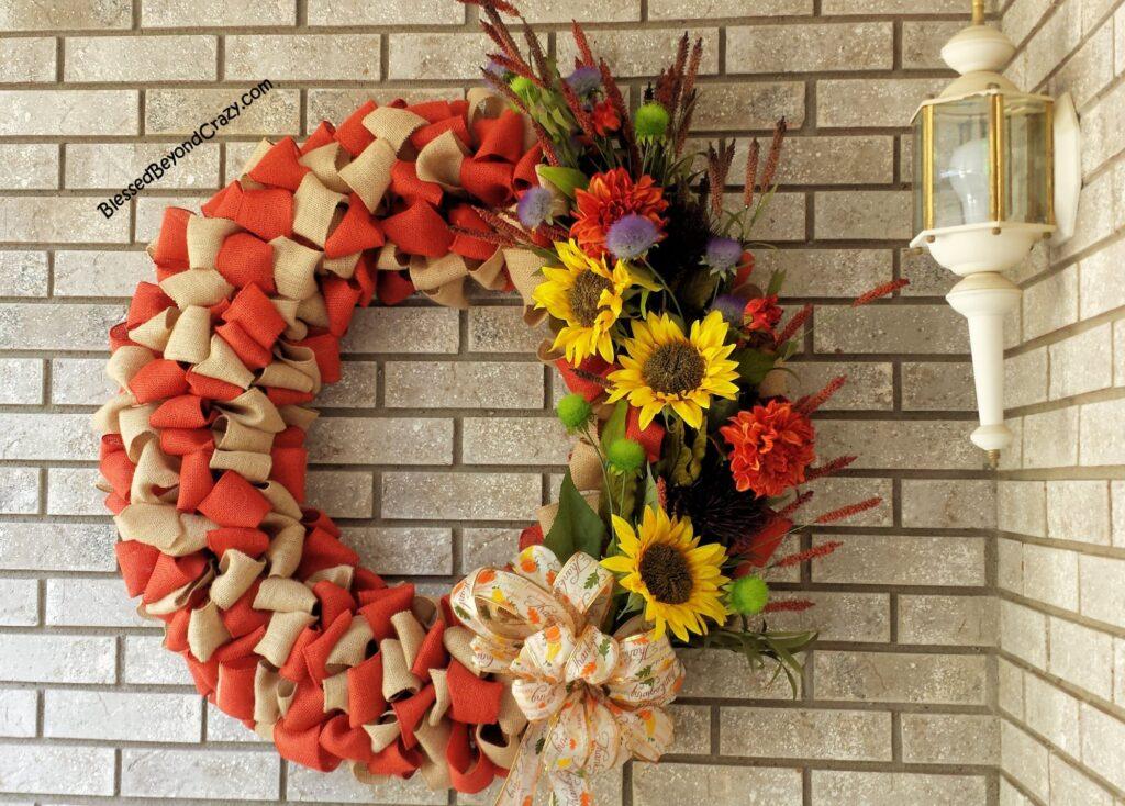 colored fall burlap wreath