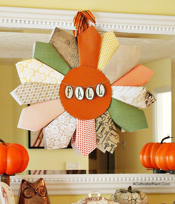 fall scrapbook paper wreath