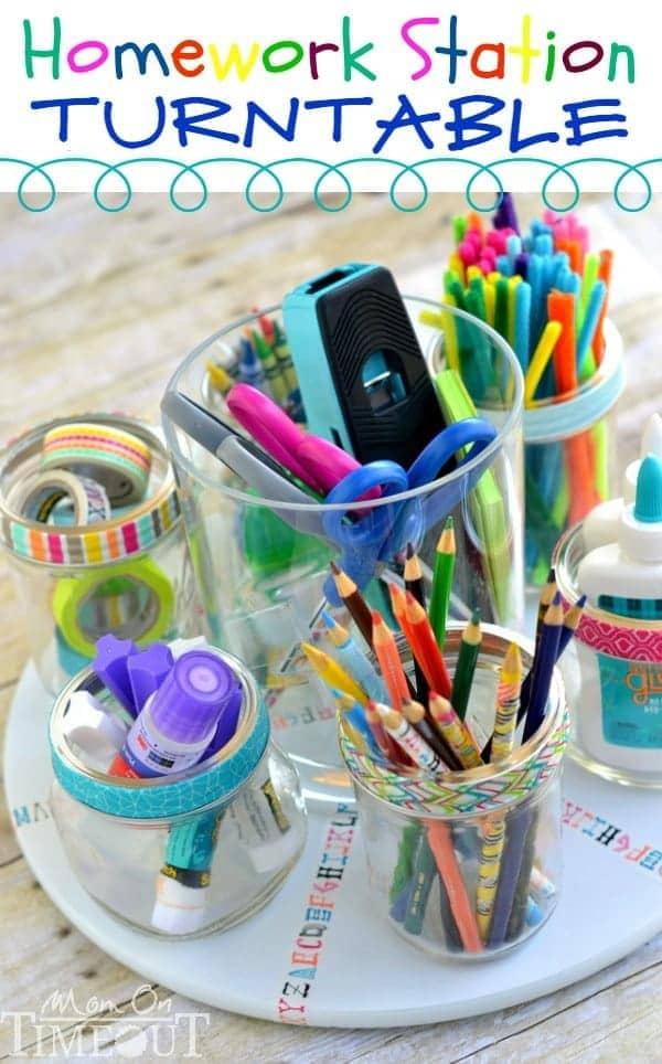 DIY homework station turntable to keep school supplies organized