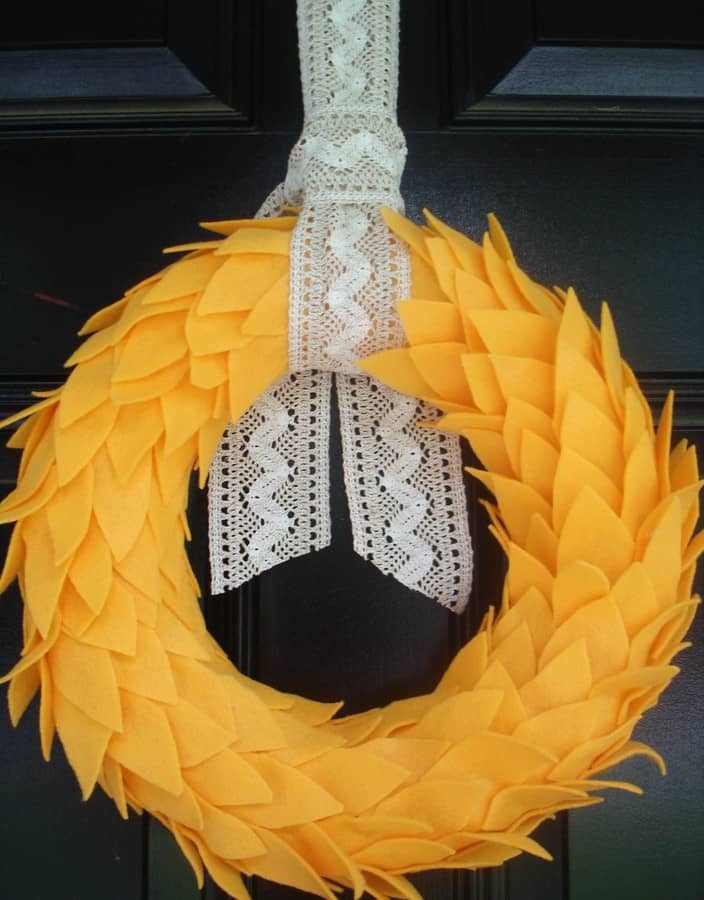 leaves and lace felt wreath