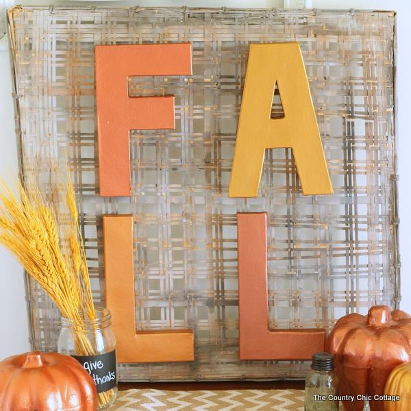 DIY metallic fall sign