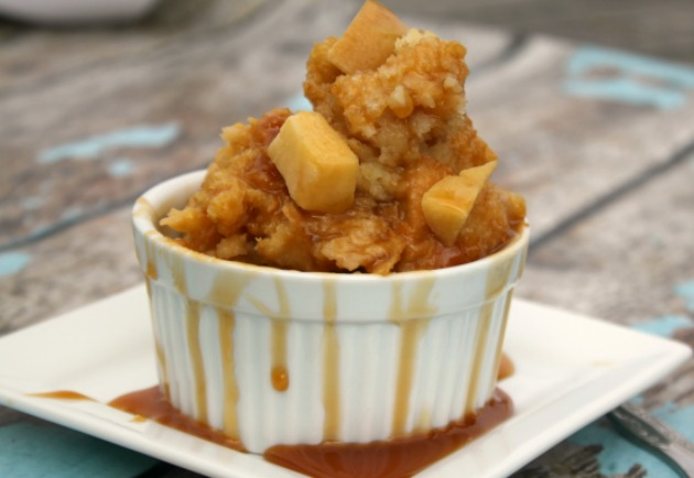Carafe of crockpot caramel apple crisp