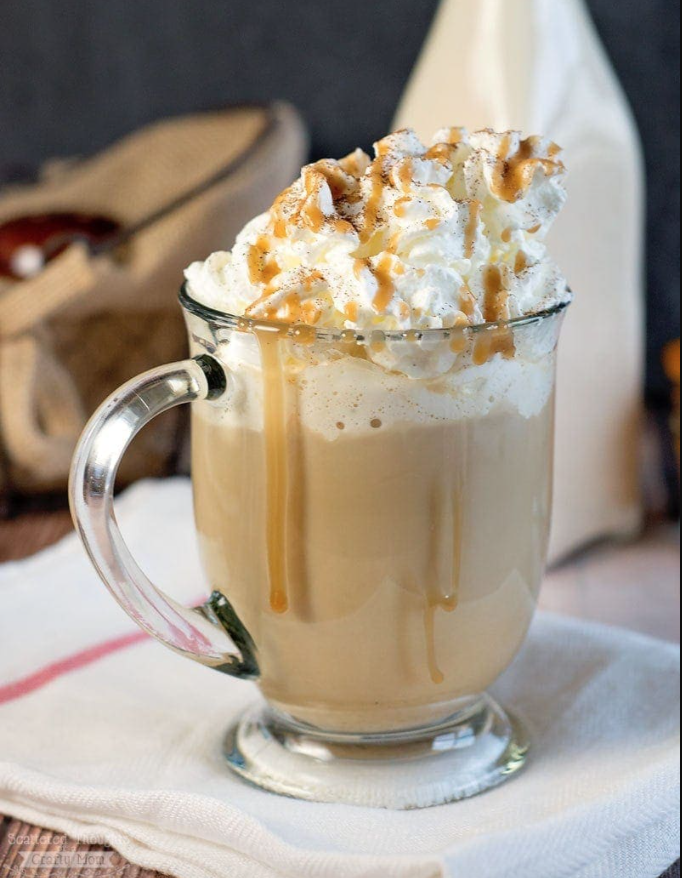 glass mug filled with homemade pumpkin spice latte