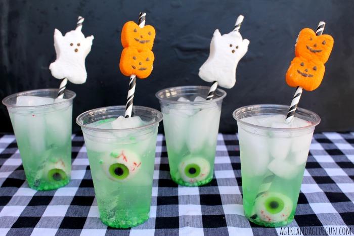 green Peep straws Halloween drink