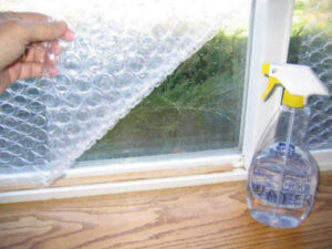 bubble wrap on the window
