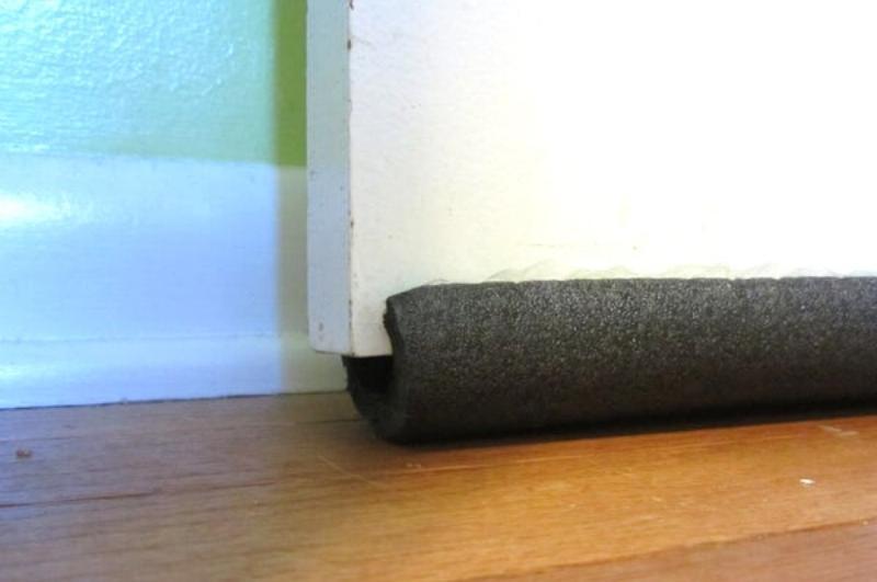 pipe insulation to stop gaps under the door