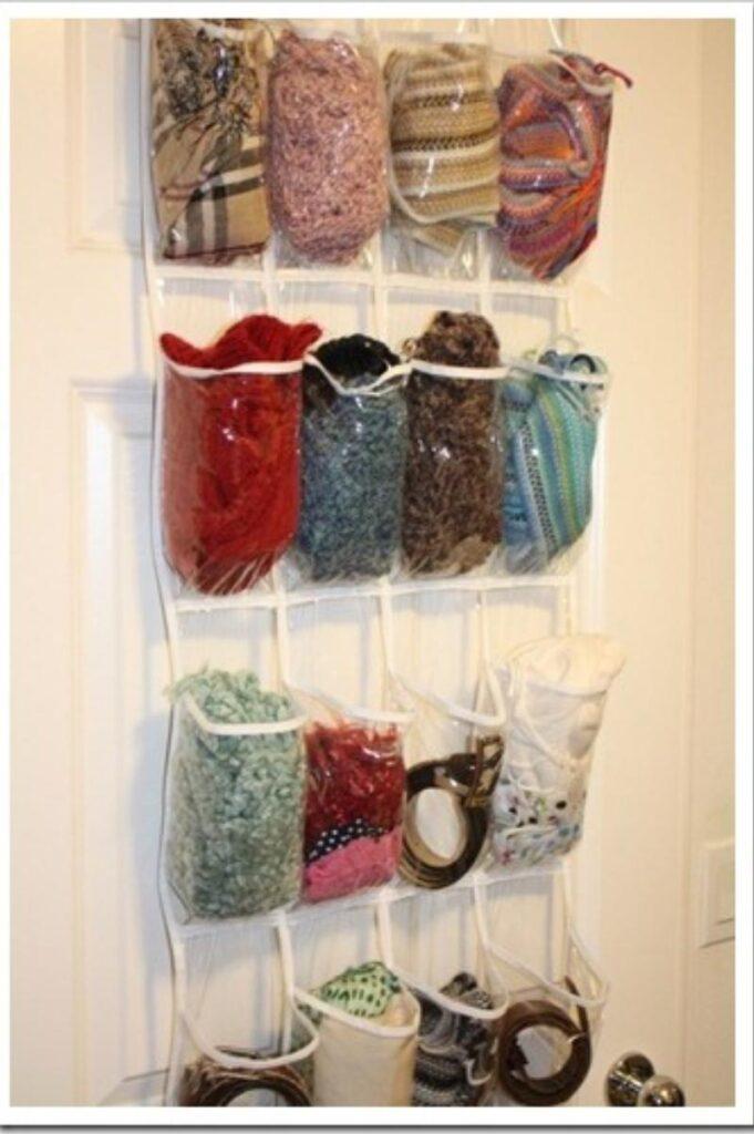 use a shoe organizer to organize winter accessories