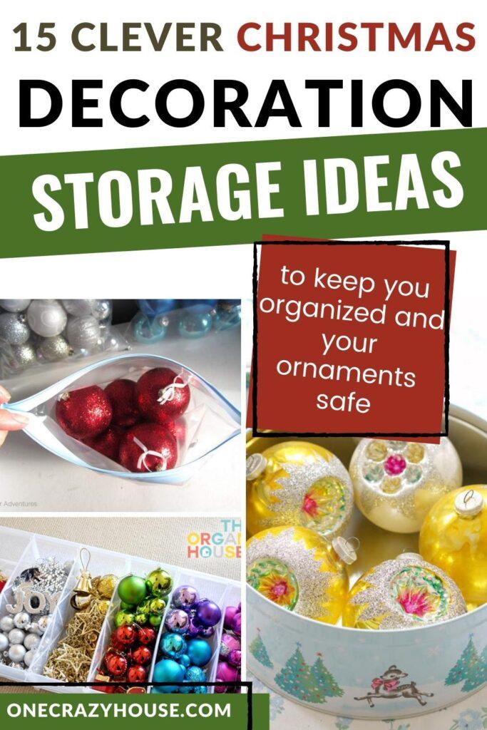 Christmas ornament storage ideas pin image