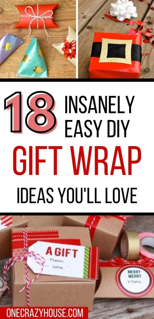 DIY gift wrapping ideas and hacks pin image