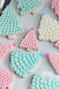 Pastel Christmas tree cookies