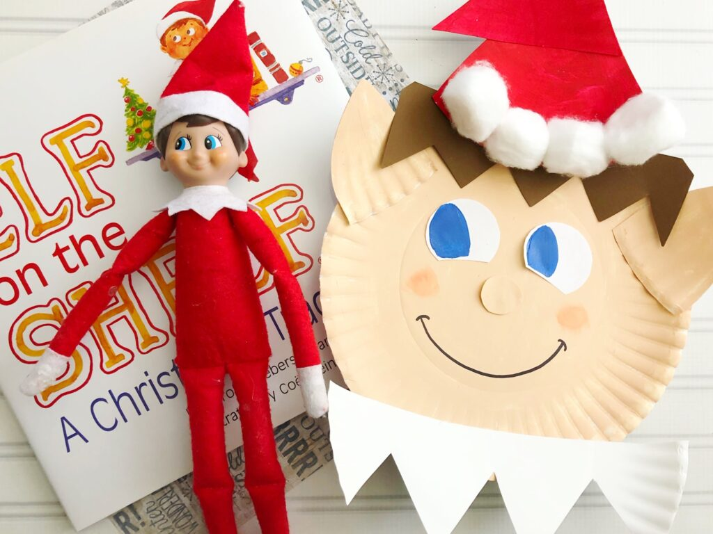 Elf on the Shelf next to an Elf on the Shelf paper plate craft.