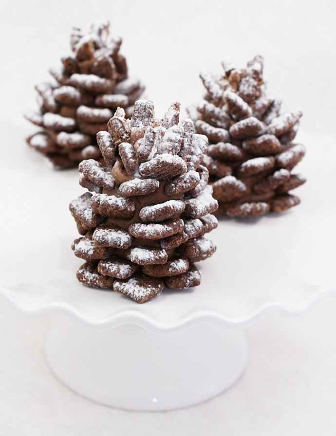 Snowy pinecone cookies on a plate