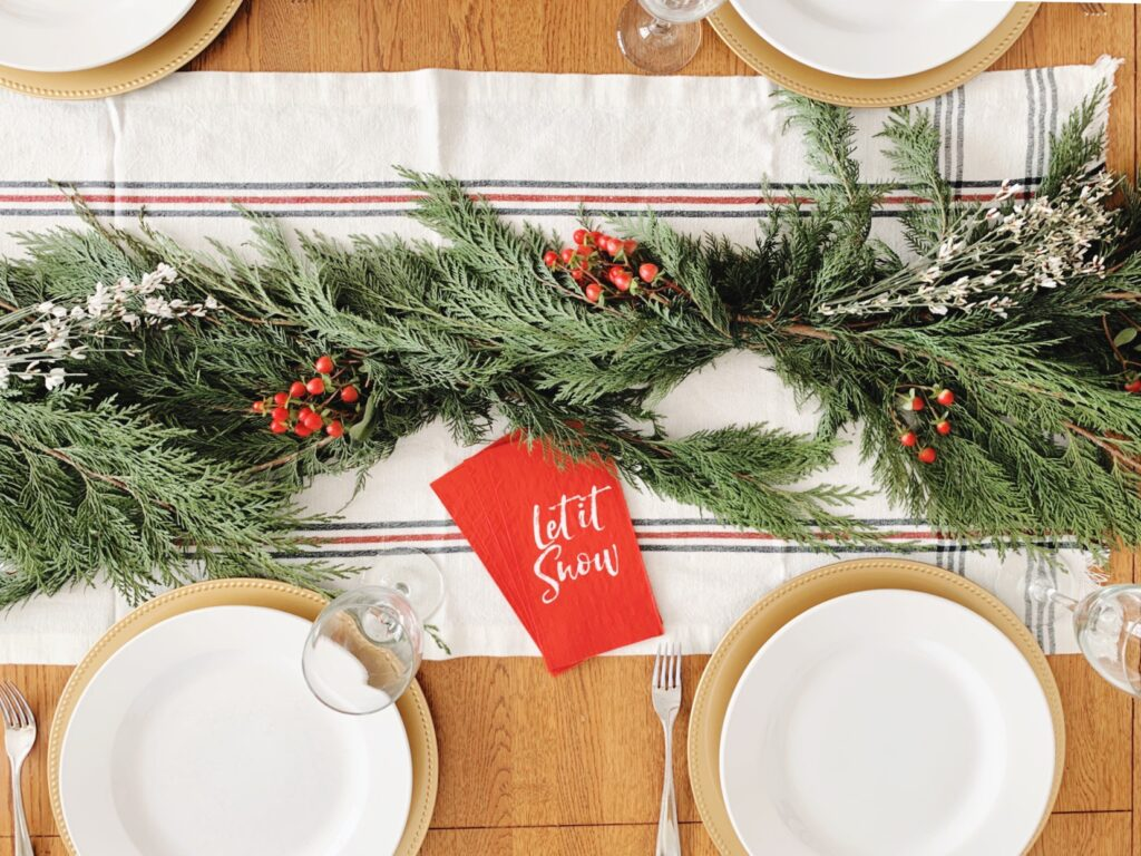 holiday greenery tablescape