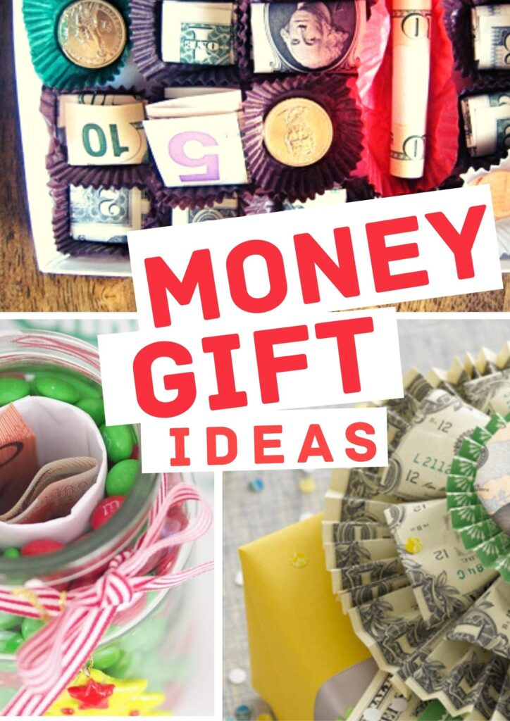 unique clever fun money gift ideas- an image of money in a chocolate box, a money rosette, and a candy jar with money hidden in the middle