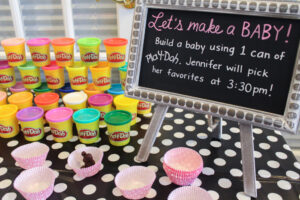 baby shower game ideas - making baby from playdough