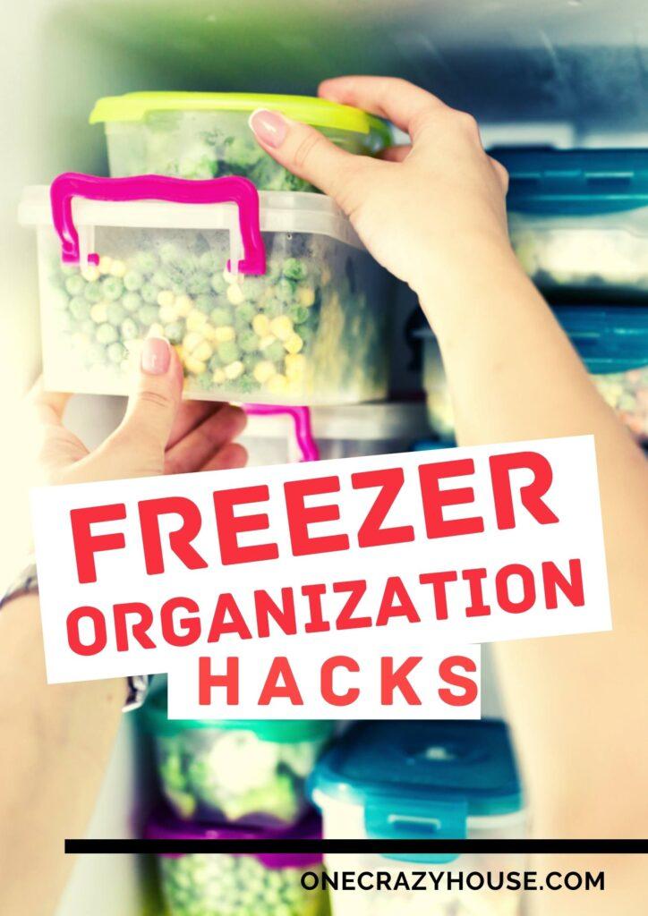 woman organizing freezer