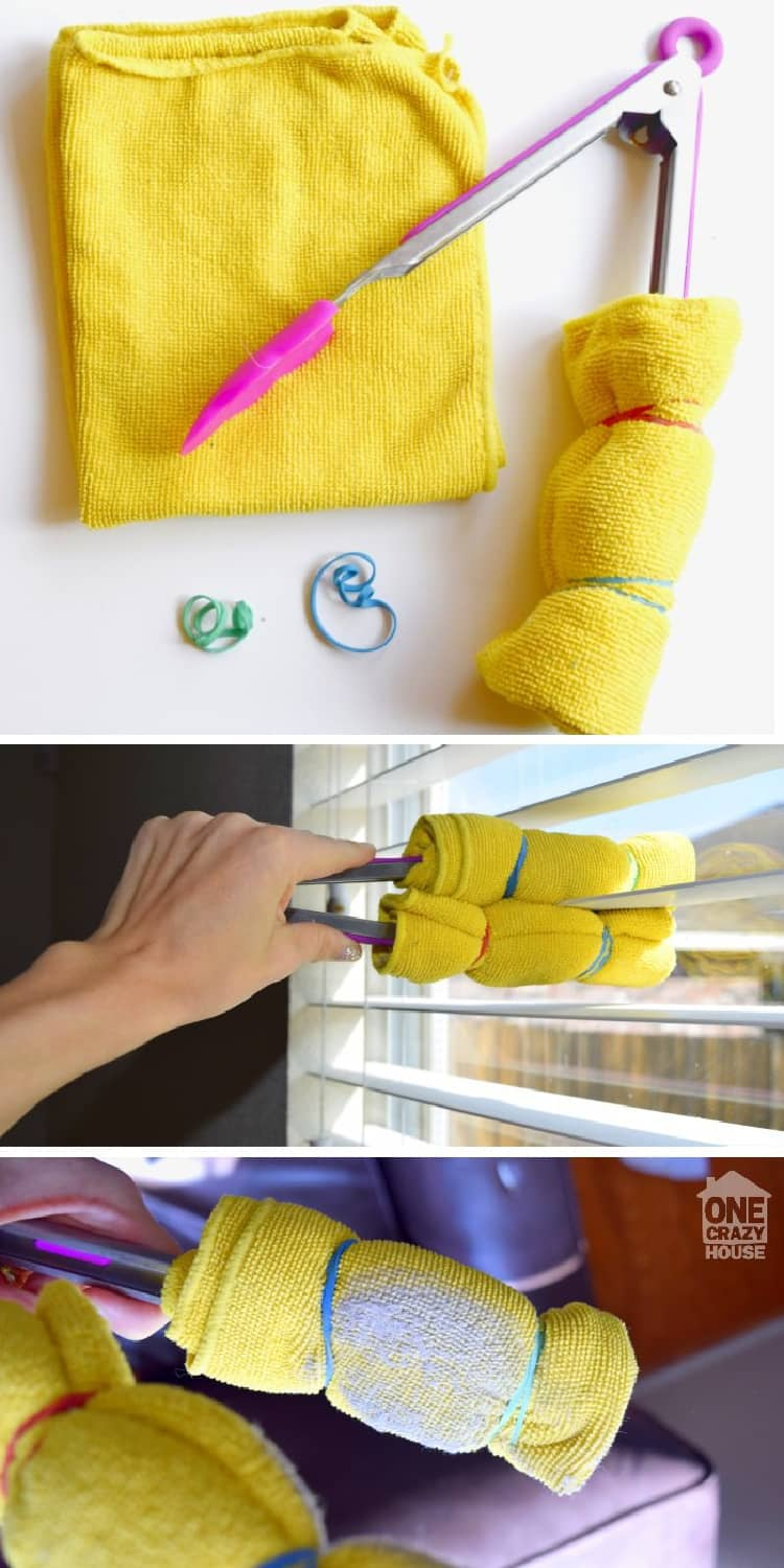 collage, microfiber cloth, tongs, elastic bands, a hand holding the tongs, cleaning blinds, dirty microfiber, dust collected