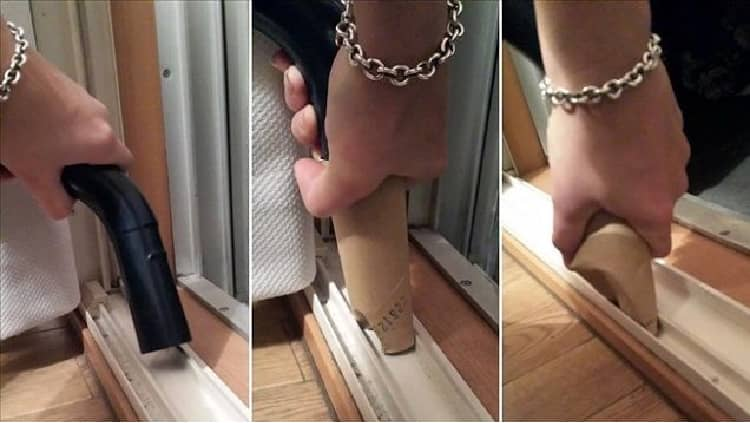 vacuuming tight spaces with a cardboard tube