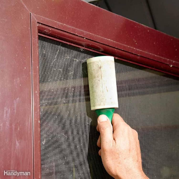 Cleaning window screens with lint roller