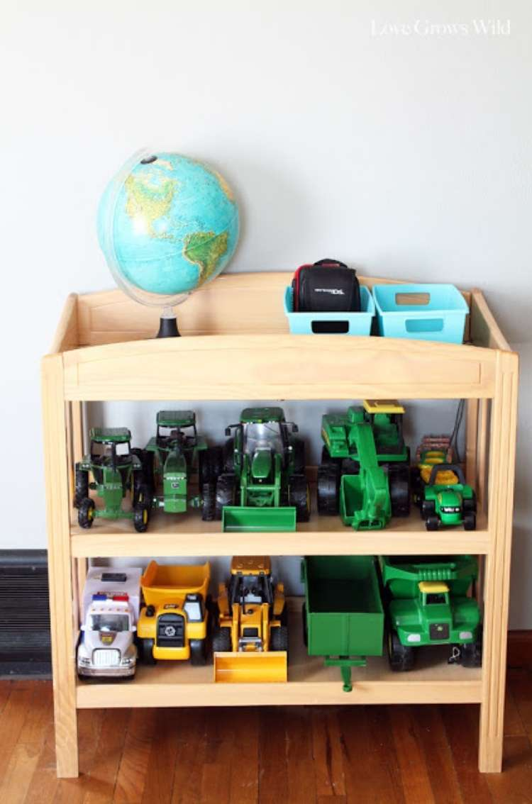 Wooden repurposed changing tables converted into toy truck kid storage organizer.
