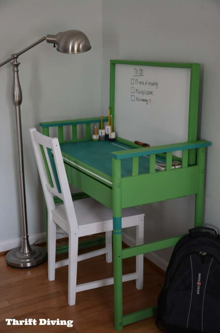 Repurposed changing table into bright green child sized desk