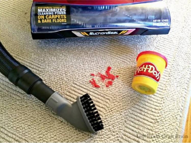 vacuum hacks clean play dough from carpet