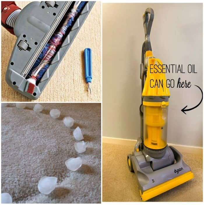 vacuum hacks collage seam ripper with a vacuum roller, ice on carpet indentations, vacuum cleaner with cotton balls with essential oils