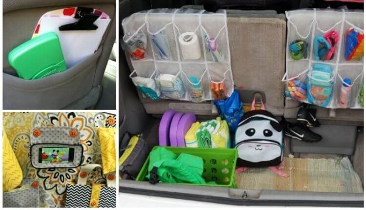 Collage of car hacks - shoe organizer in trunk, over the seat organizer with phone holder, white paper on clipboard with crayons in repurposed empty travel wipes container