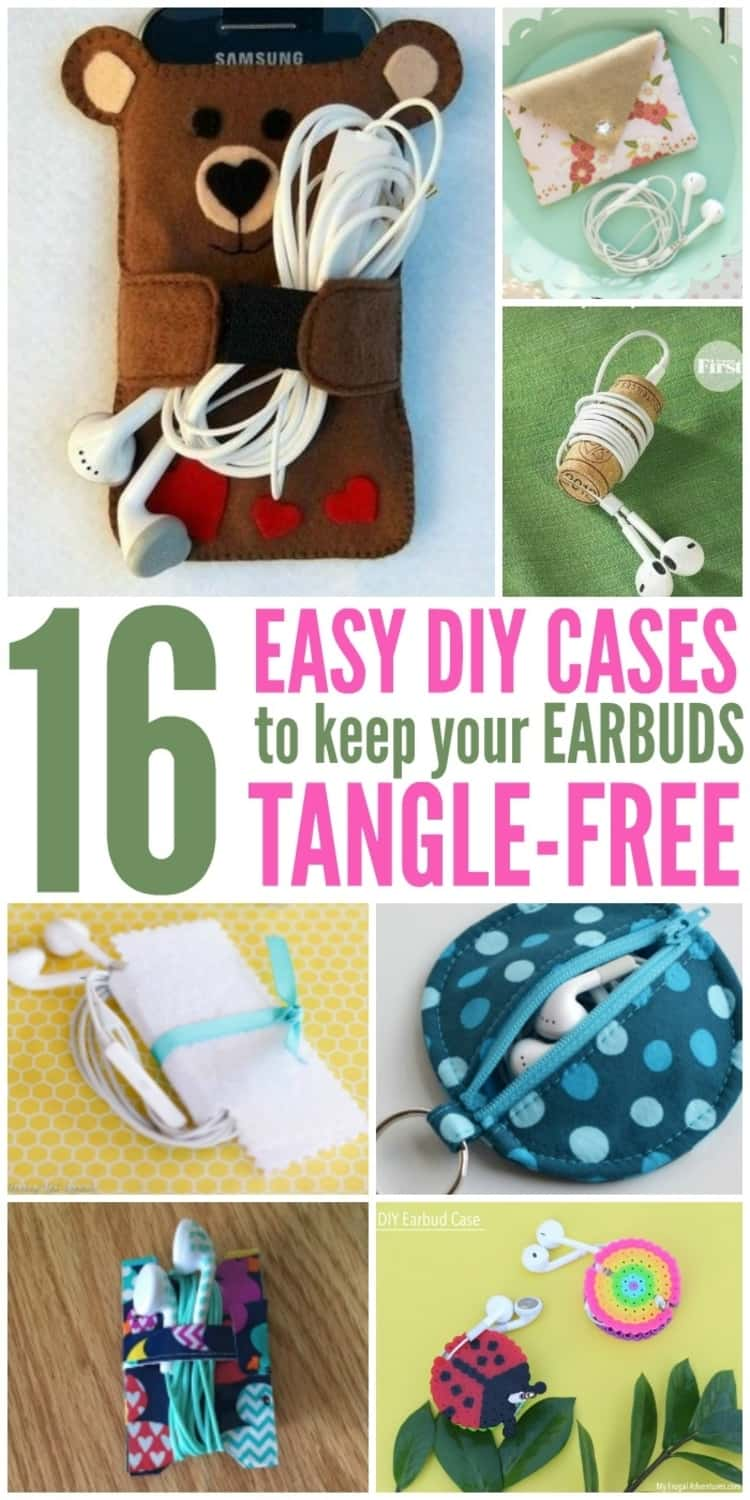 Pinned image with a 7-photo collage of DIY Bear earbuds holder, DIY wine cork earbuds holder, DIY felt fabric earbuds case, DIY duct tape earbuds holder, DIY Perler shells earbuds case, a DIY sewn earbuds case, and a DIY keyring pouch earbuds case